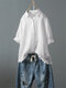Casual Solid Color Button Turn Down Collar Lapel Ruffle Hem Shirt - White