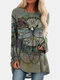 Vintage Dragonfly Printed O-neck Long T-shirt For Women - Green