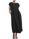 Solid Color Short Sleeve Plus Size Casual Dress - Black