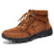 Men Hand Stitching Outdoor Work Style Microfiber Leather Boots - Brown