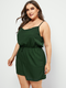 Solid Color Straps Plus Size Short Casual Jumpsuits - Green