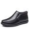 Men Microfiber Leather Warm Plush Lining Soft Sole Business Casual Ankle Boots - Black