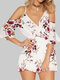 Floral Print Off-shoulder Ruffle Short Casual Romper for Women - White