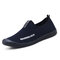 Men Comfy Soft Breathable Mesh Fabric Slip On Casual Walking Sneakers - Blue