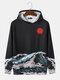Mens Sun Waves Landscape Print Japanese Style Daily Pullover Hoodie With Kangaroo Pocket - Black