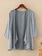 Solid Color 3/4  Sleeves Casual Thin Cardigan For Women - Grey