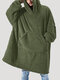 Flannel Thicken Warm Blanket Hooded Cozy Soft Oversized Robes Homewear Top With Kangaroo Pocket - Green