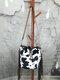 Tassel Decor Faux Fur Sun Flower Exquisite Print Pattern Lattice Bucket Bag Shoulder Bag - 5