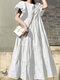 Einfarbig Short Puff Sleeve Plissee Casual Loose Kleid - Weiß