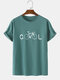 Mens 100% Cotton Funny COOL Bicycle Print Short Sleeve T-Shirt - Blue
