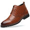 Men Vintage Brogue Carved Lace Up Leather Dress Boots - Yellow