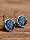 Vintage Glass Dangle Women Earrings Plant Flower Pattern Earrings Jewelry - #02