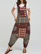 Vintage Ethnic Print Loose Baggy Jumpsuit For Women - Red