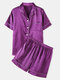 Plus Size Women Faux Silk Pajamas Set Solid Smooth Breathable Lapel Collar Loungewear With Short Sleeve Top - Purple
