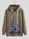 Mens Fleece Lined Printing Patchwork Pocket Long Sleeve Ethnic Style Loose Hoodies - Army Green
