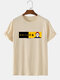 Mens Japanese Cat Graphic 100% Cotton Street Short Sleeve T-Shirts - Apricot