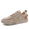 Men Breathable Printing Lace-up Round Toe Casual Canvas Flats - Beige