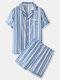 Mens Vertical Stripe Revere Collar Satin Contrast Binding Loungewear Pajamas Sets - Blue