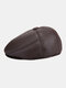 Men Faux Leather Casual Outdoor Warm Solid Color Forward Hat Beret Hat Flat Cap - Brown