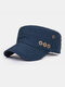 Men Solid Color Keep Warm Outdoor Flat Hat Military Hat - Navy