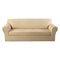 1/2/3/4 seater Stretch Couch Cover Waterproof Elastic Stretch Sofa Cover Waffle Fabric Solid Color Couch Slipcover - Khaki