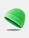 Bonnet unisexe en laine tricoté de couleur unie Casquettes de crâne Bonnets sans bord - vert