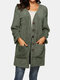 Solid Color Long Sleeve Pocket Cardigan For Women - Army