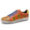 SOCOFY Retro Leather Printing Pattern Cutout Splicing Lace Up Casual Sneakers - Orange