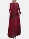 Ethnic Plaid Pocket Button Long Sleeve Casual Maxi Dress - Wine Red