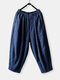Solid Color Elastic Waist Plus Size Casual Pants for Women - Navy