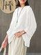 ヴィンテージチェック柄長袖プラスサイズポケット付きだぶだぶブラウス - 白い
