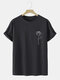 Mens Line Drawing Rose Graphic 100% Cotton Short Sleeve T-Shirts - Black