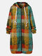 Color Plaid Print Long Sleeves Hooded Zipper Pockets Casual Coat For Women - Green
