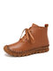 SOCOFY Genuine Leather Stitching Solid Color Soft Wearable Sole Casual Flat Short Boots - Brown