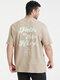 Plus Size Mens Letter Back Print 100% Cotton Fashion Short Sleeve T-Shirts - Khaki