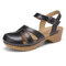 LOSTISY Handmade Stitching Sandals Buckle Summer Solid Color Casual Wedges - Black
