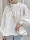 Solid Color Stand Collar Long Sleeve Casual Blouse For Women - White