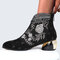 Women Comfy Soft Leather Embroidered Flowers Rhinestone Chunky Heel Summer Boots - Black