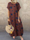 Polka Dot Print Short Sleeve Plus Size Baggy Dress with Pockets - Rust Red