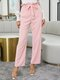 Solid Color Ruffle Knotted Casual Pants For Women - Pink