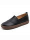Women's Leather Casual Slip On Flat Loafers Shoes - Black