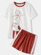 Women Cute Different Print Crew Neck Cotton Comfy Pajamas Sets With Shorts - White