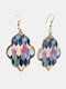Vintage Baroque Alloy PU Leather Geometric-shape Argyle Floral Printing Earrings - #06