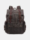 Men Retro Outdoor Waterproof Genuine Leather Canvas Patchwork Hiking Travel Backpack - Green