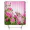 180x180cm Shower Curtain/3-Piece Floor Mat Butterfly Pink Rose Carpet Toilet Mat Bathroom Accessories - #3