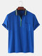 Mens Front Zip Fastening Short Sleeves Polo Shirt With Contrast Ribbed Trims - Blue
