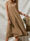 Loose Button Sleeveless O-neck Solid Color Vintage Dress For Women - Coffee