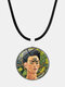 Cartoon Printed Men Women Necklace Adjustable Woman Wearing Flowers Glass Pendant Leather Necklace - #06