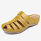 LOSTISY Hollow Out Closed Toe Casual Wedges Backless Sandals - Yellow