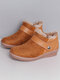 LOSTISY Suede Elastic Band Comfortable Warm Lined Winter Ankle Boots - Camel